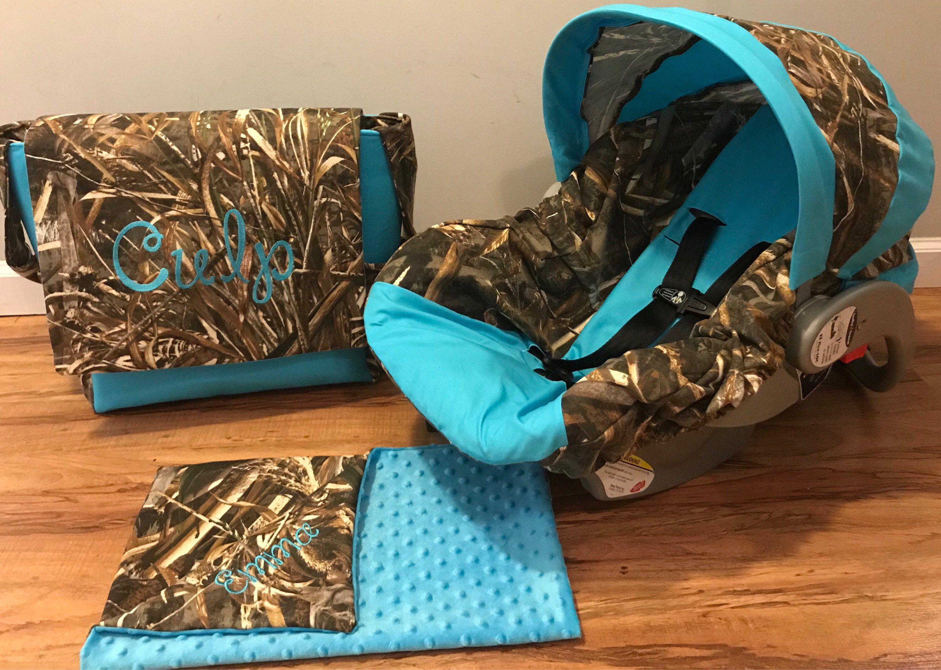 A Personal Favorite From My Etsy Shop Https Www Etsy Com Listing 618089573 3 Piece Set Max 5 Camo Fabric Turquo Baby Car Seats Baby Girl Camo Camo Baby Stuff