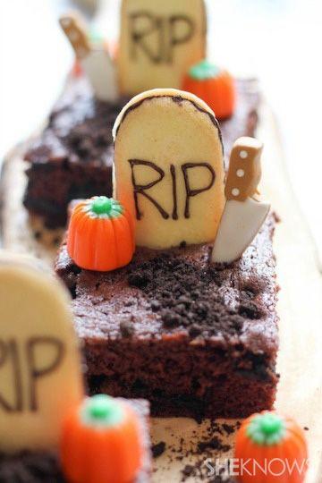 spooky graveyard brownies halloween recipehalloween - Halloween Brownie Recipe