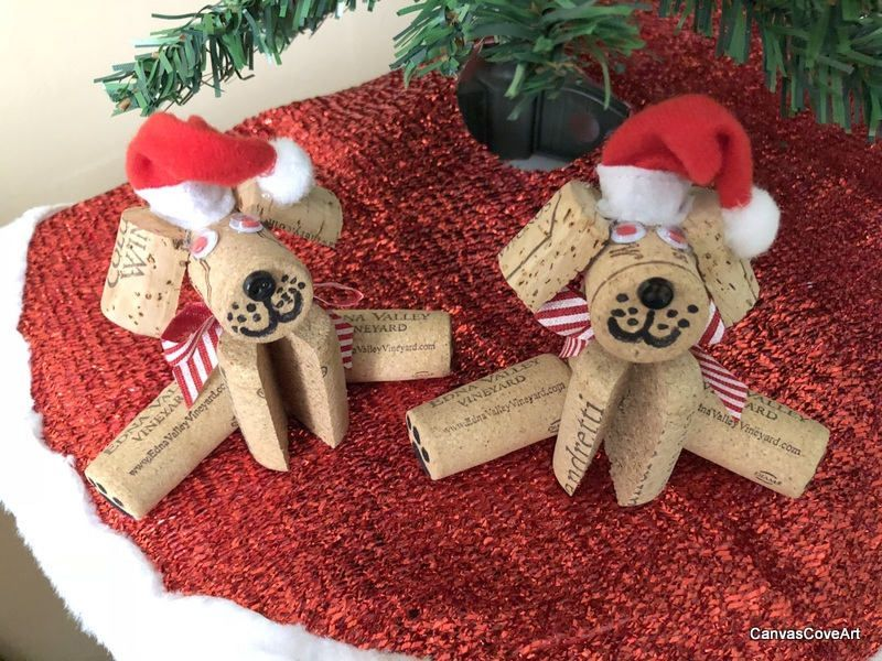 Wine Cork Puppy Dog Christmas Tree Ornaments Set of 2 Red Bows