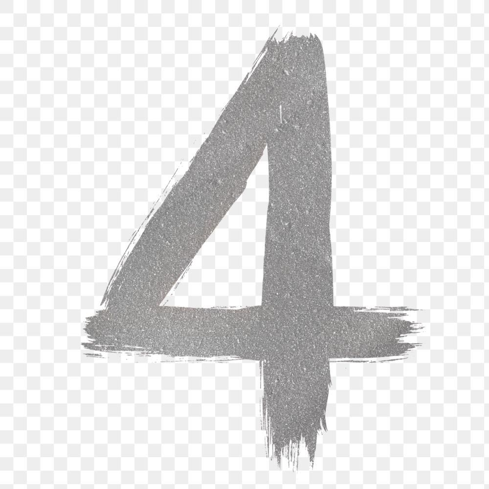 Number 4 Brush Stroke Png Silver Metallic Font Free Image By Rawpixel Com Hein Brush Stroke Png Brush Strokes Png