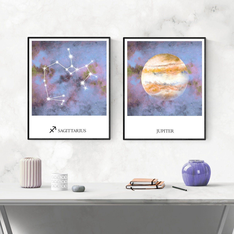 Sagittarius Wall Art Jupiter Planet Celestial Decor Etsy Crescent Moon Art Zodiac Constellation Art Constellation Print