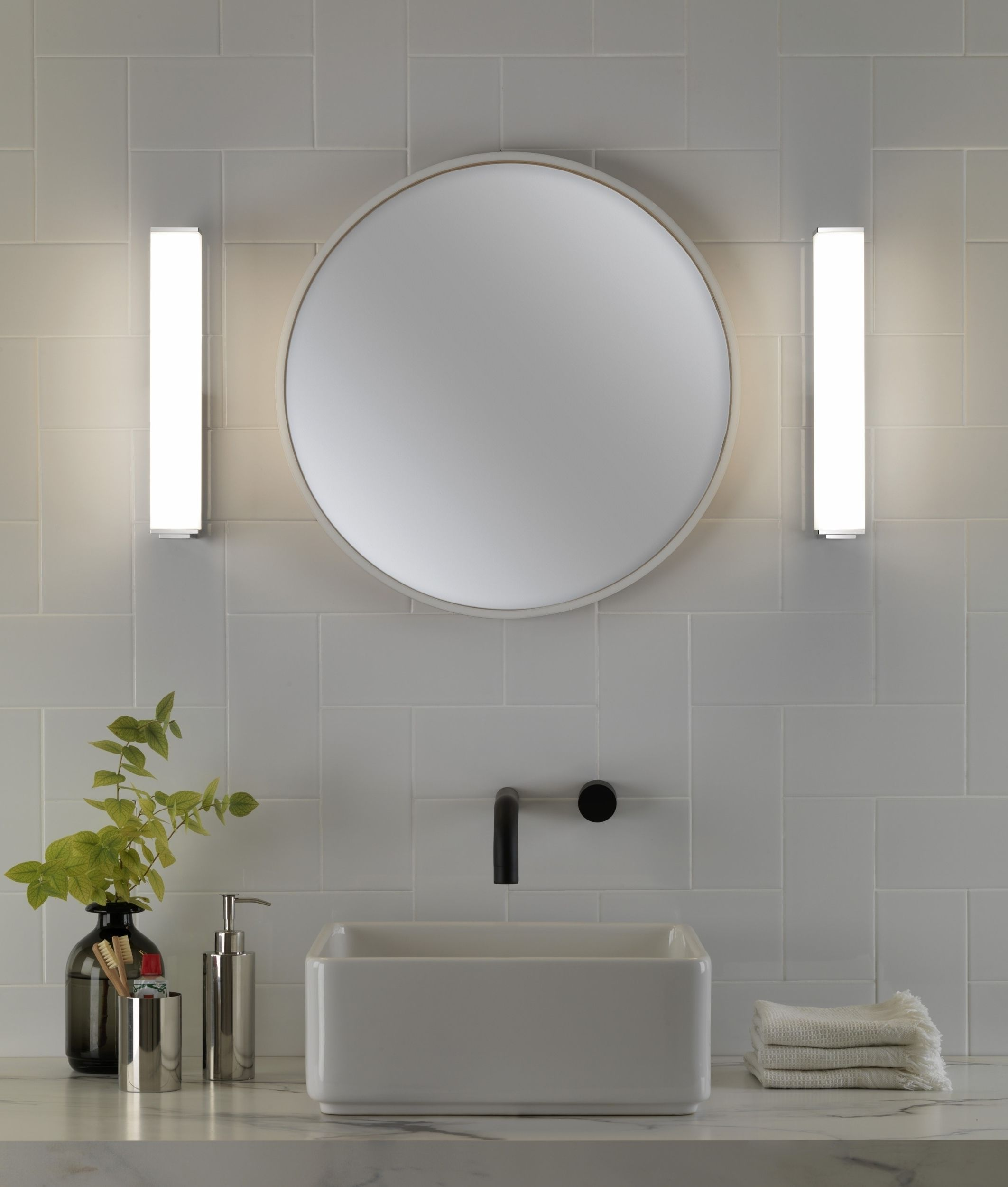 Glass Walls Bathroom - Rectangular chrome and opal glass wall light ip44 rated for bathroom use