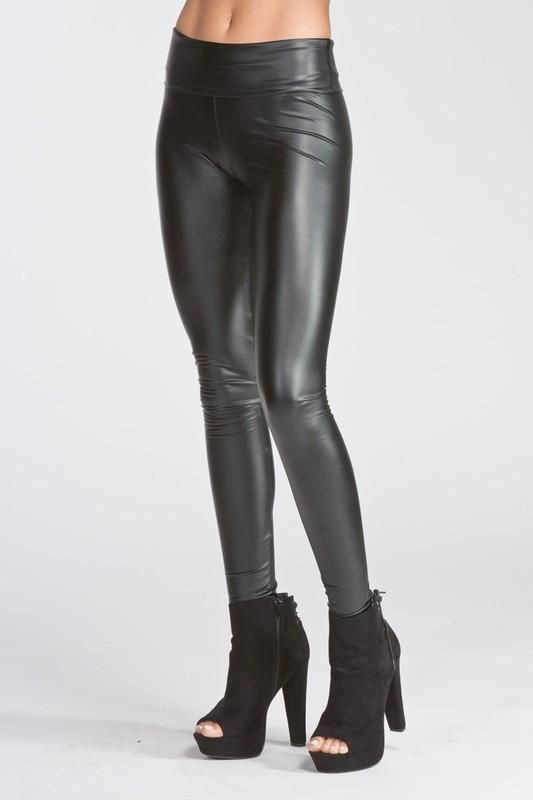 42d2a0bfde1ad Liquid Pleather High Waisted Leggings A super sassy and fun pair of fitted pleather  leggings, the Liquid leggings can dress up any tunic top in a snap.