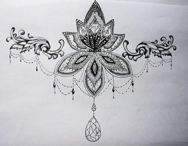 under boob sternum tattoo designs - Google-Suche | Mandala ...