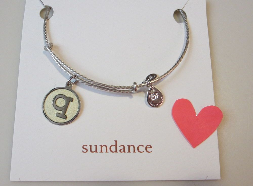 "Sundance Expandable Sterling Silver /""W/"" Initial Bangle Bracelet $148.00-NWT"
