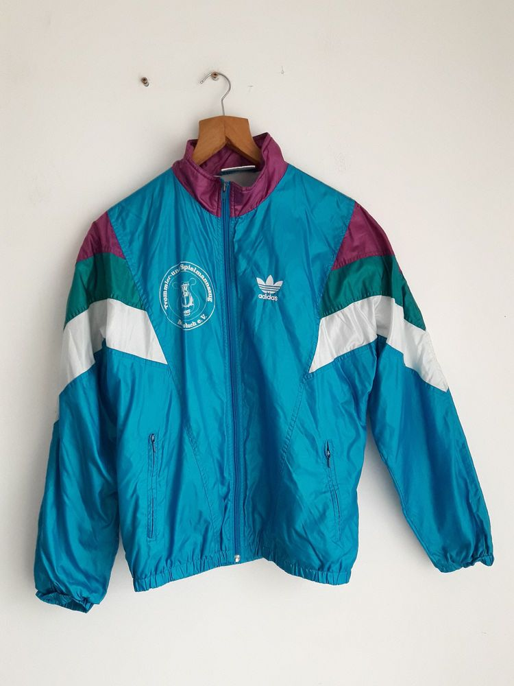 Vintage Retro Adidas 80 S Sport Jacket Jumper Tracksuit Full Zip Top Size L Xl Fashion Clothing Shoes Accessories Menscl Jackets Sports Jacket Jacket Tops