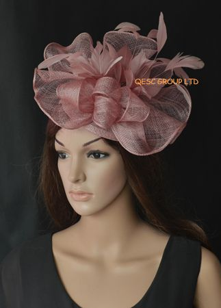 Heather pink Big Sinamay fascinator hat with feather flower ... ceba58c2e58