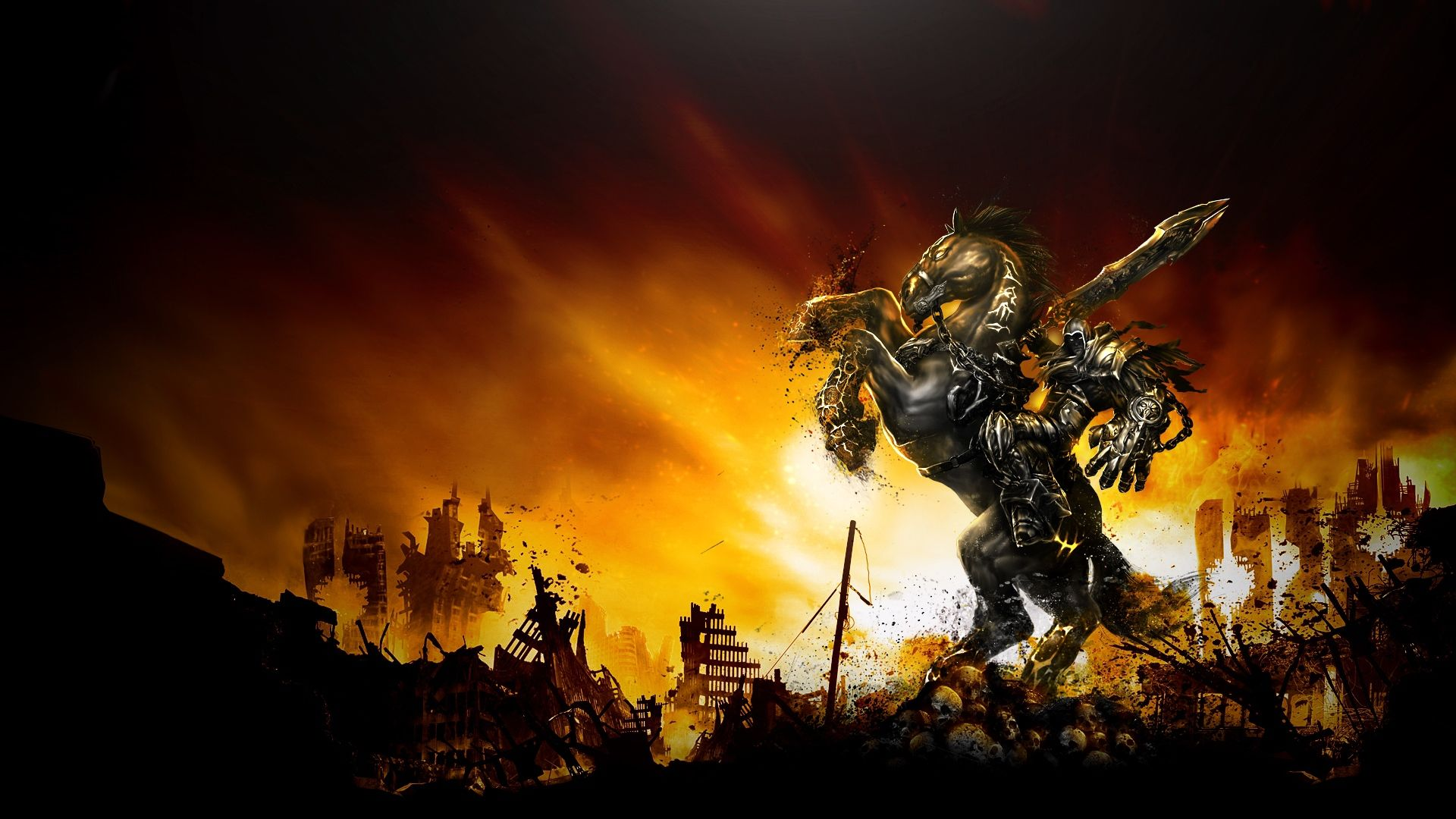 Darksiders War Wallpaper By: Stunning Darksiders War Horse Sunset City Ruin Download