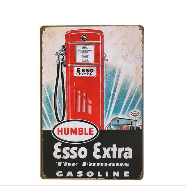 Hot Gas Station And Gasoline Vintage Retro Metal Signs Home Decor Vintage  Tin Signs Pub Vintage