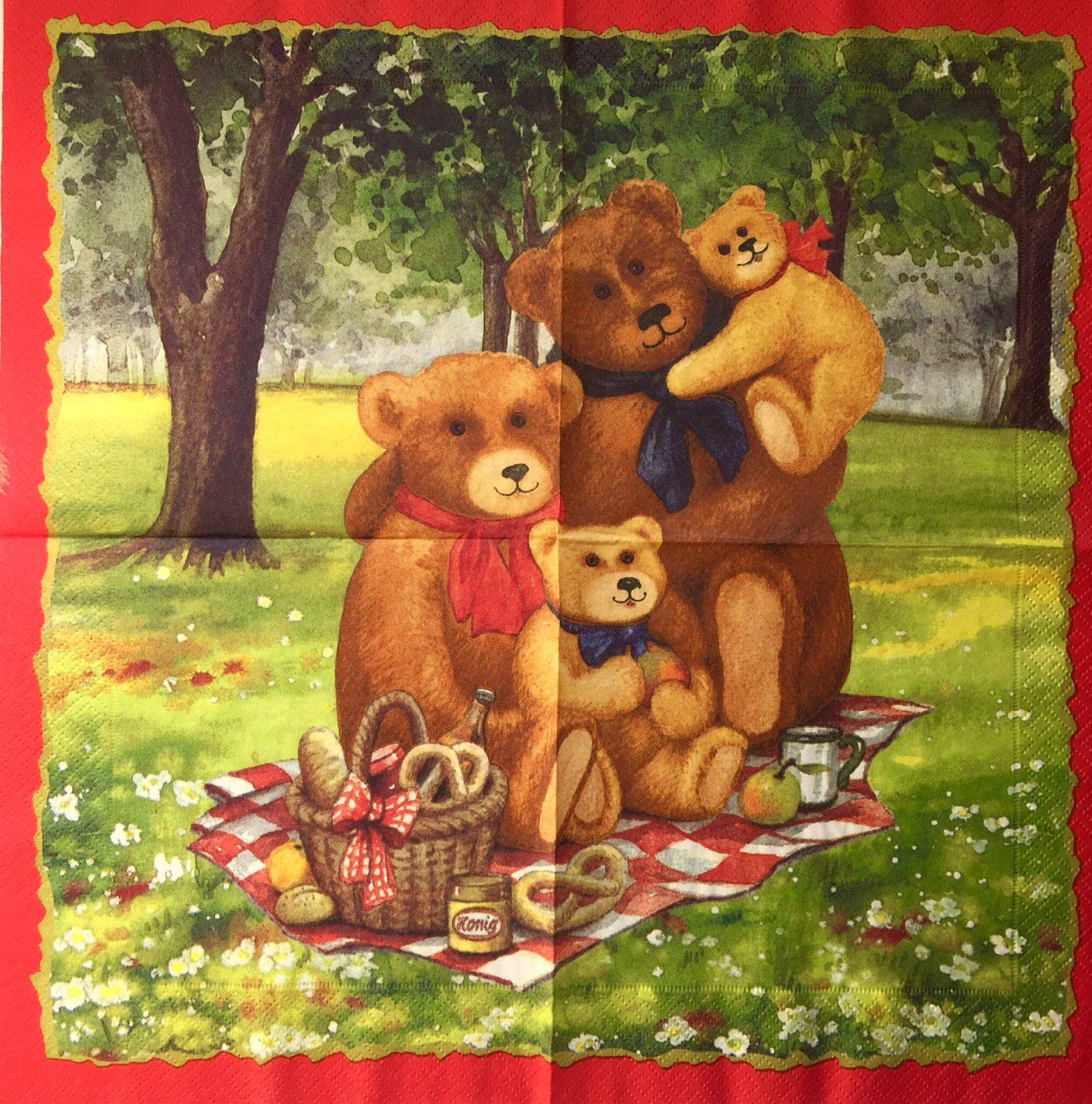 Rare single(one whole picture napkin) Teddy familie&Picnic for collectie/decoupage, decoupage under glass, scrapbooking and other art door Dalilasdecoupage op Etsy