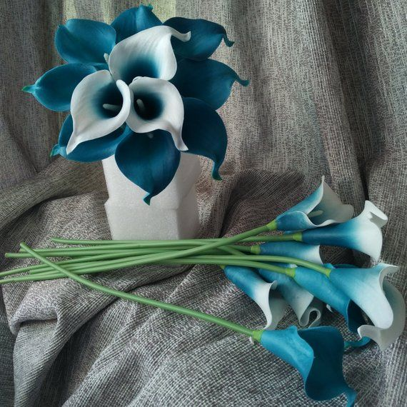 10 Oasis Teal Picasso Calla Lilies Real Touch Bridal Bouquet Faux Flower Wedding