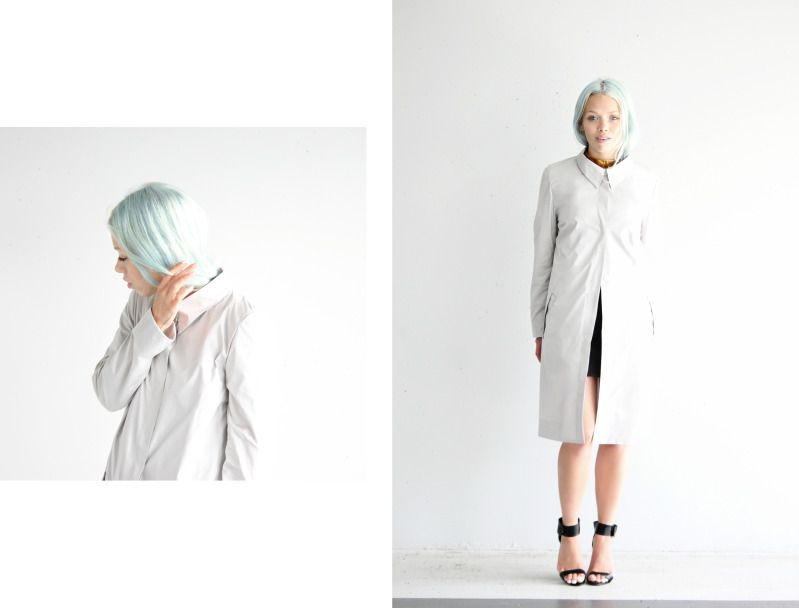 White coat, blue hair.