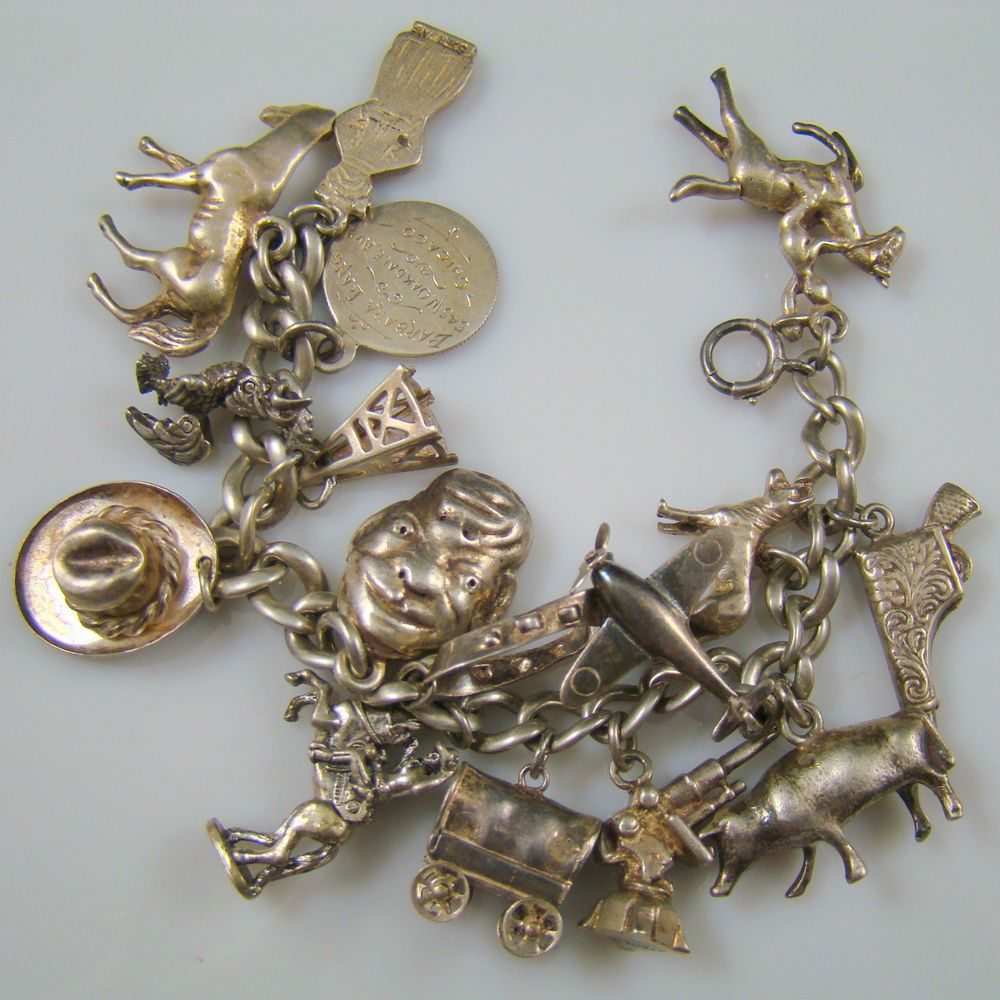 Vintage Sterling Silver Charm Bracelet with Large Horses Cow Western Mechnical