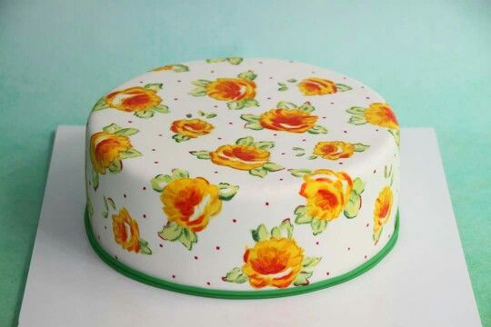 Hand painted flower cake
