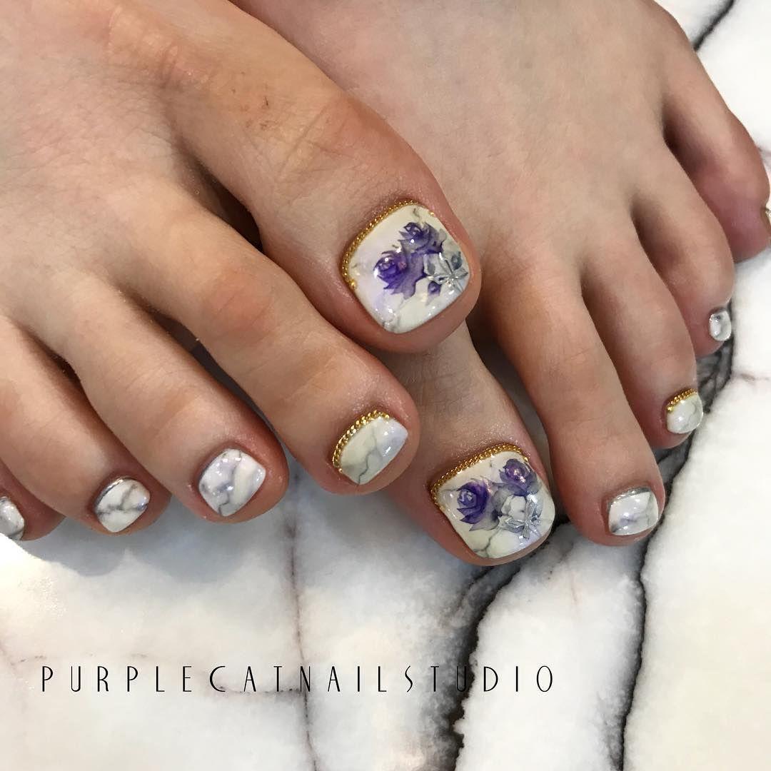 PURPLECATNAILSTUDIO Toenails | MANI❀PEDI | Pinterest | Painted toes ...