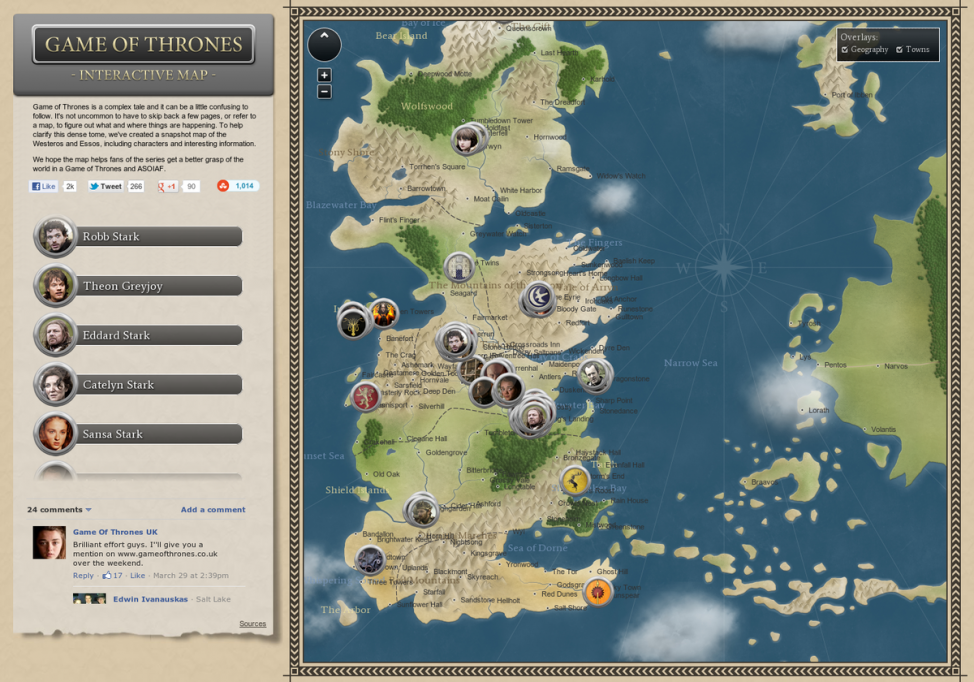 More maps of westeros this time a beautifully interactive one game of thrones interactive map infographic gumiabroncs Images