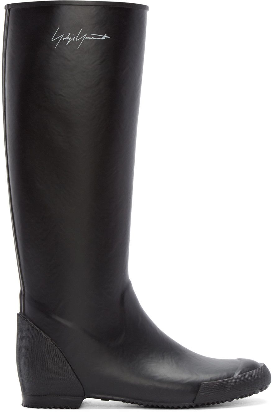 YOHJI YAMAMOTO Black Rain Boots. #yohjiyamamoto #shoes #boots