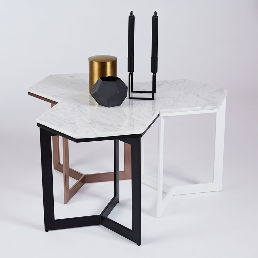Best Rebecca Hexagon Side Table Italian Marble And Black 400 x 300
