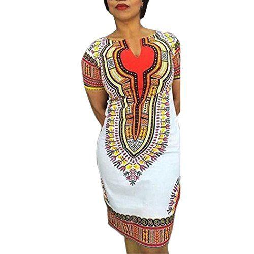 bd931f59781 Yoyorule Women Traditional African Print Deep VNeck Party Dress XL White         AMAZON BEST BUY