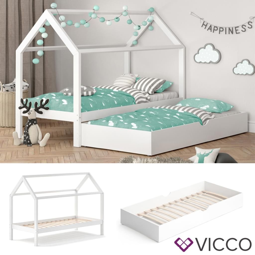 Photo of VitaliSpa children's bed WIKI 90×200 cm white sleeping place under bed house bed children's house