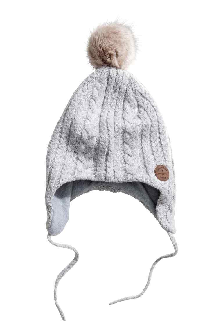 75c8868257c Fleece-lined hat - Light grey - Kids