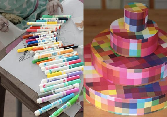 recreate | pixelated cupcake stand...or could just print digital image of pixels or geo pattern