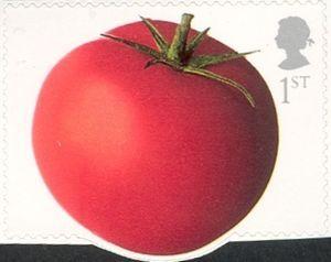 Sello: Tomato (Reino Unido de Gran Bretaña e Irlanda del Norte) (Fruit and Vegetables) Mi:GB 2098I,Sn:GB 2114,Yt:GB 2421,Sg:GB 2354,AFA:GB 2289