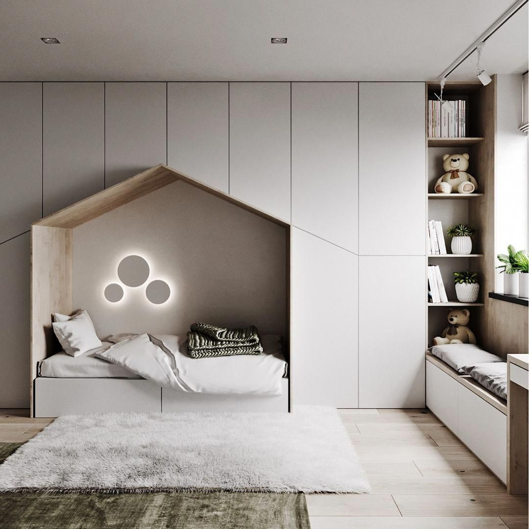 Minimalist Kids Bedroom With Ample Storage A Quaint Little Bed And A Window Seating Station Cozy Bedroom Design Kids Bedroom Designs Modern Bedroom Design