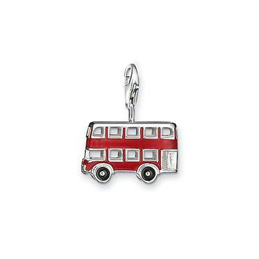 """Thomas Sabo Bus Thomas Sabo Bus-Anhänger """"London Bus"""" aus 925er Sterlingsilber, rot und schwarz emailliert. Die roten Doppeldeckerbusse zählen zu den Wahrzeichen Londons. Es gibt kaum einen Besucher der Stadt, der noch nicht mit ihnen gefahren ist. (Größe: 1,7 cm)   €55.00  €23.0058% off"""