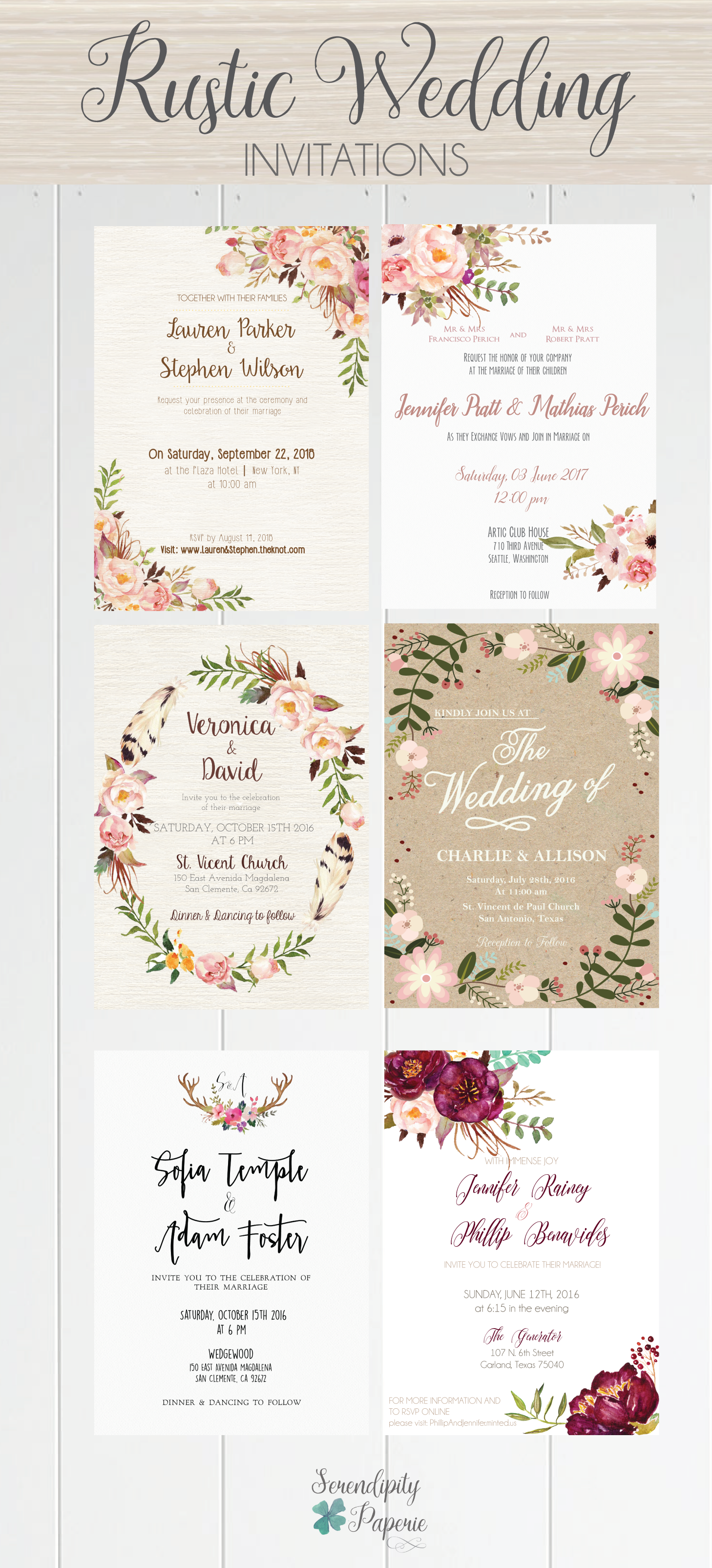 A beautiful selection of printable wedding invitations from rustic