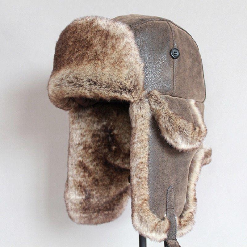 Aviator Bomber Trapper Ushanka Leather Shearling Sheepskin Fur Hat Tan