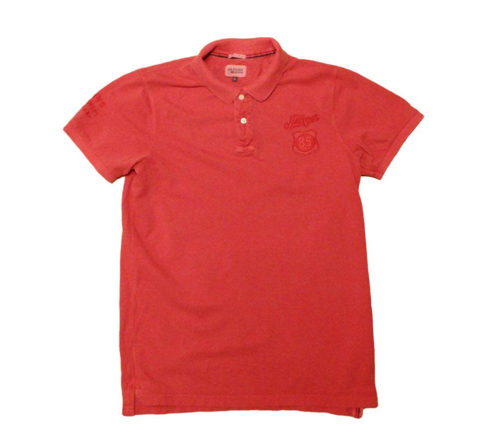 Tommy Hilfiger T-shirt men's denim  Size XL 100% cotton shirt Red polo #TommyHilfiger #tshirt #shirt #polo #clothing