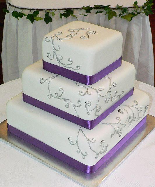 Purple And Silver Elegant Wedding Cake Purple Wedding Cakes