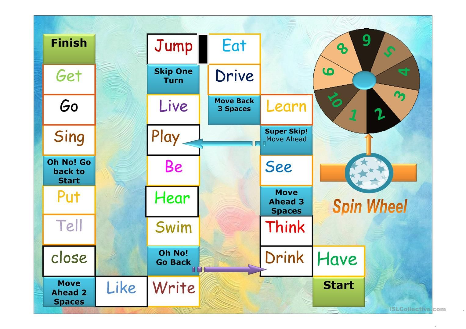 past simple interactive boardgame  basic concepts speech