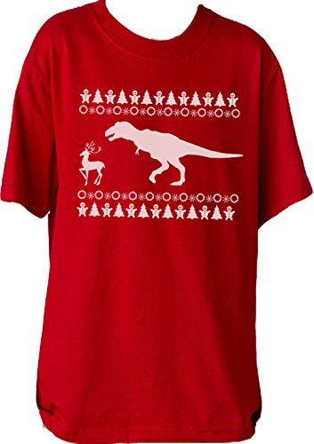"Custom Kingdom Boys/Girls ""Dinosaur Hunting Reindeer"" Christmas T-Shirt (Medium 10/12, Red) >>> You can get more details at"