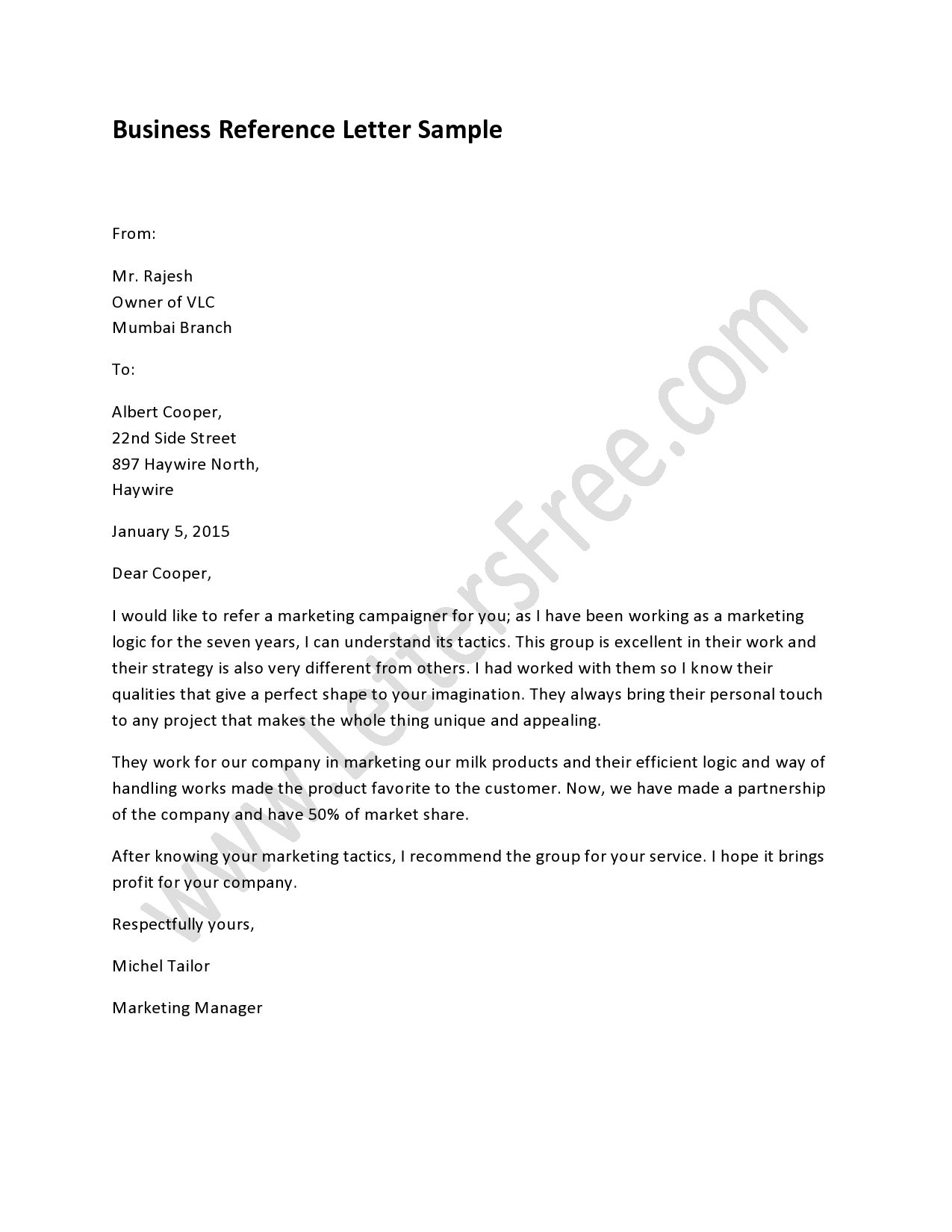 Business Reference Letter  Reference Letter