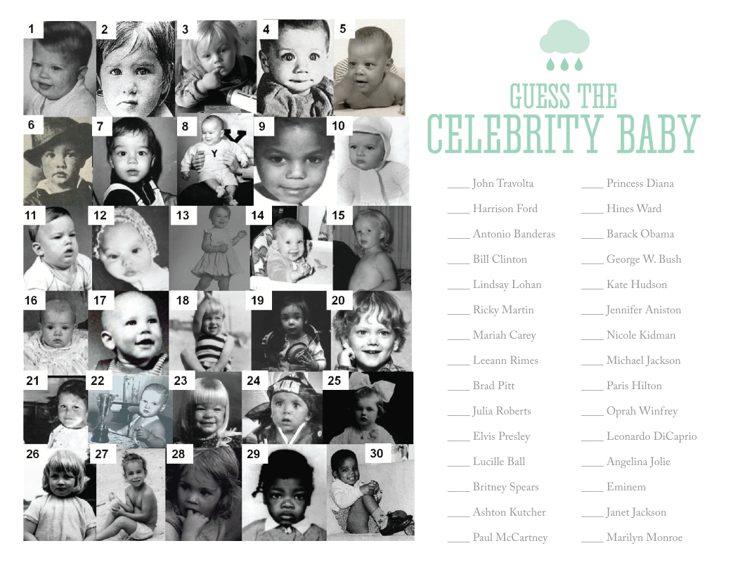 Free Printable Celebrity Baby Game by Nellie Design | self ...