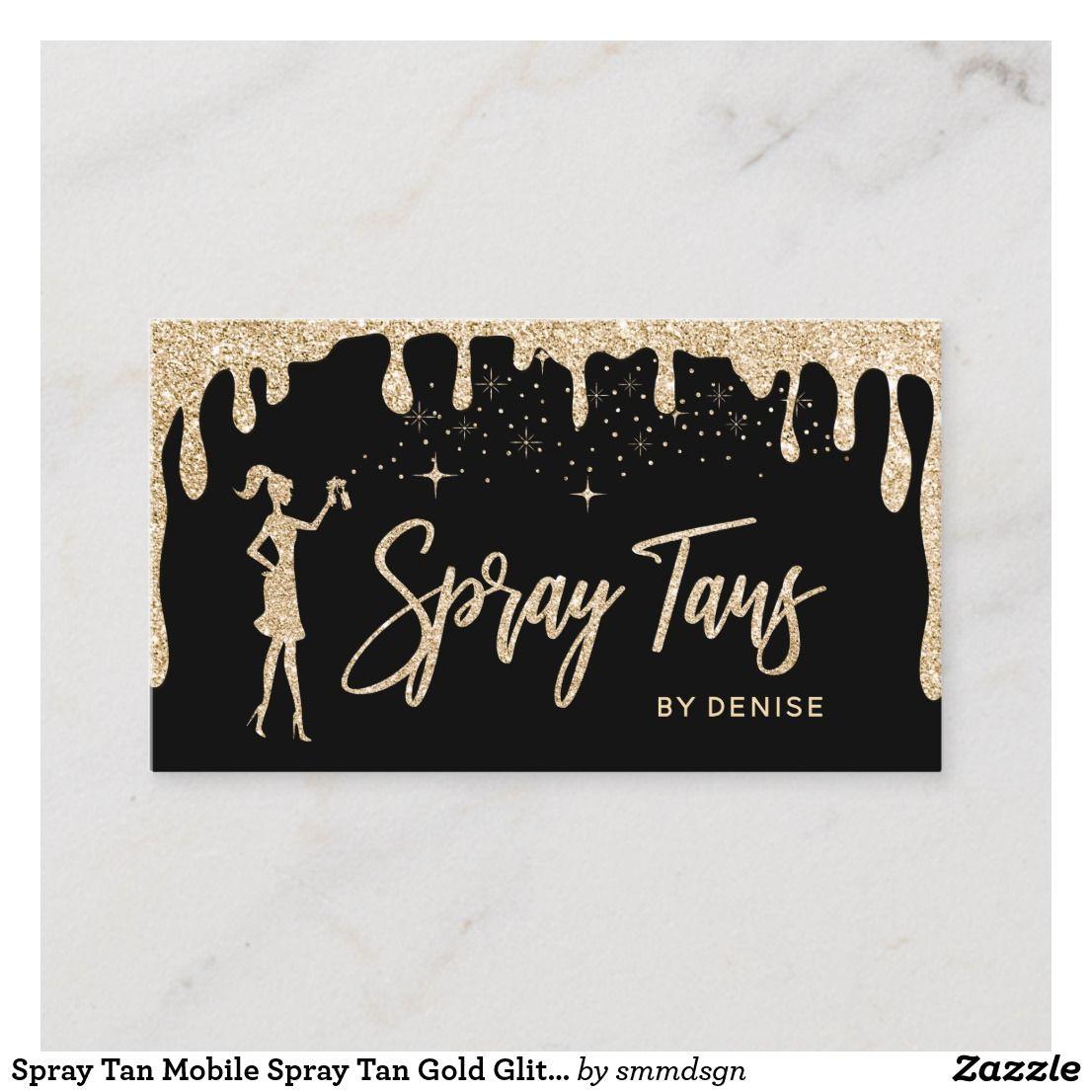 Spray Tan Mobile Spray Tan Gold Glittering Girl Business Card Zazzle Com In 2021 Mobile Spray Tanning Spray Tanning Spray Tan Business