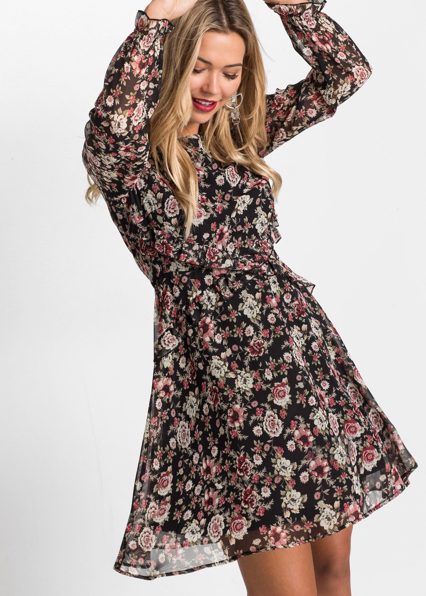 Kleid mit Blumendruck   Kleider, Schicke kleider und Outfit