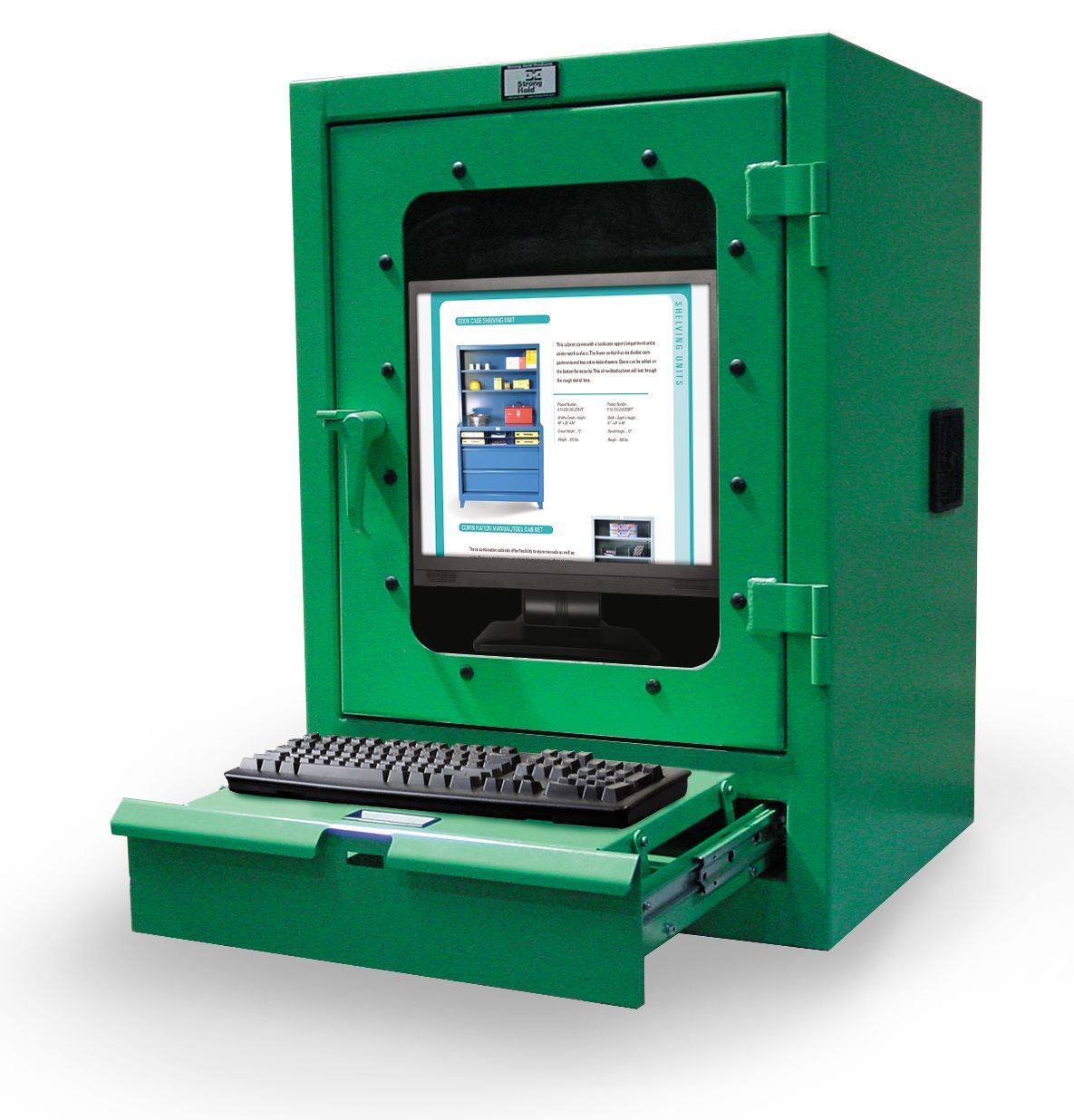Desktop Computer Cabinet With Keyboard Drawer Desktop Computers Computer Industrial Storage