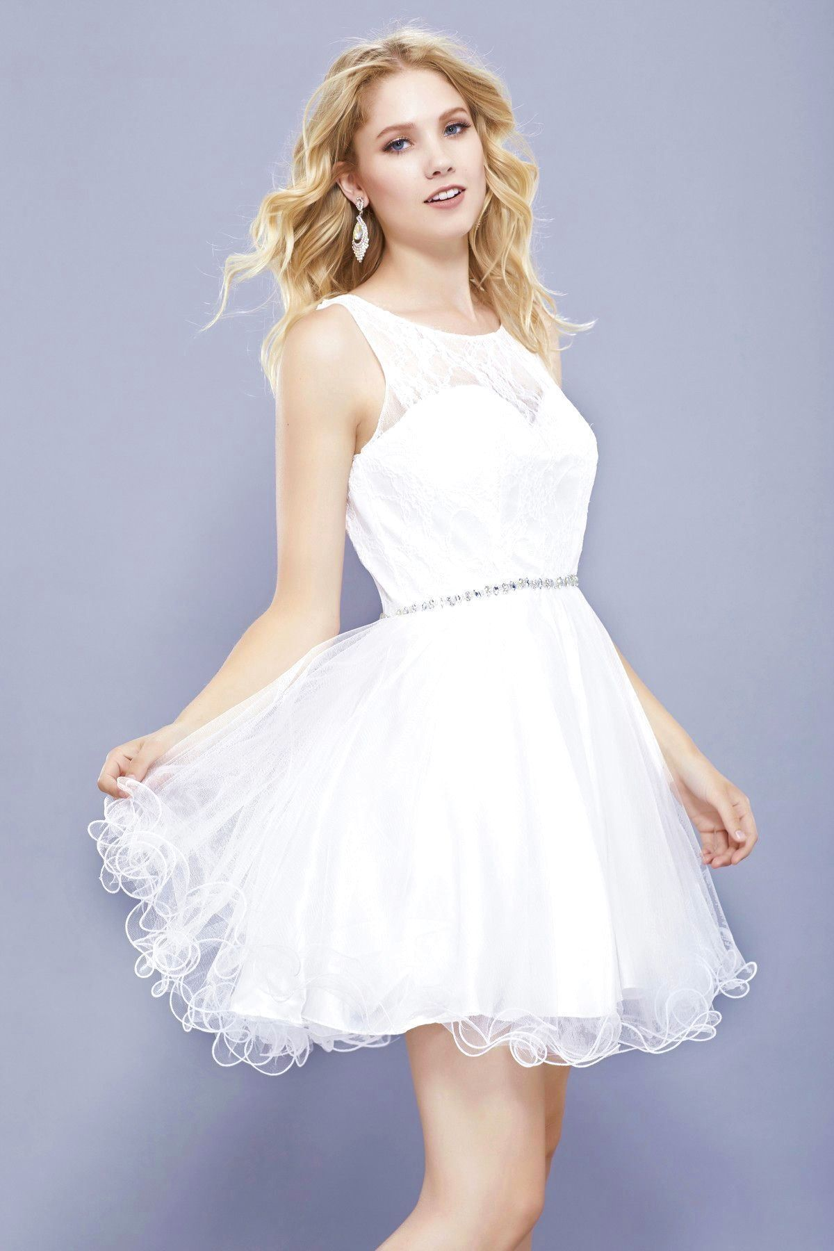 Short ruffled dress with lace bodice by nox anabel lace
