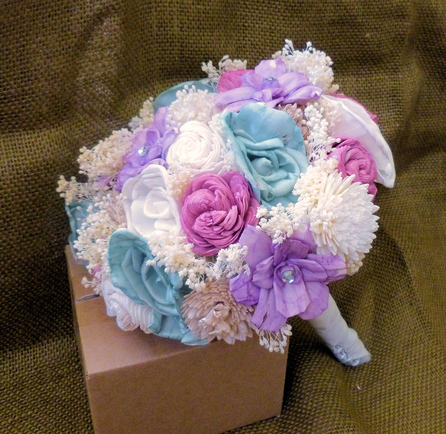 Handmade Wedding Bouquet Large-Handmade Flower, Bridal Bouquet, Keepsake Bouquet, Shabby Chic Wedding, Rustic Wedding. $85.00, via Etsy.