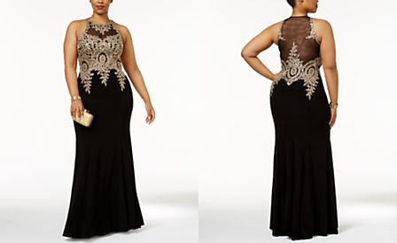 Xscape Plus Size Embroidered Mesh Mermaid Gown | prom dresse | Prom ...