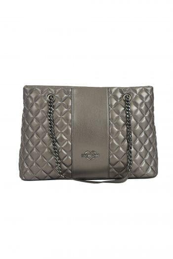 3e5960e170 Love Moschino γυναικεία καπιτονέ τσάντα ώμου με αλυσίδα - JC4011PP16LB0 -  Ασημί