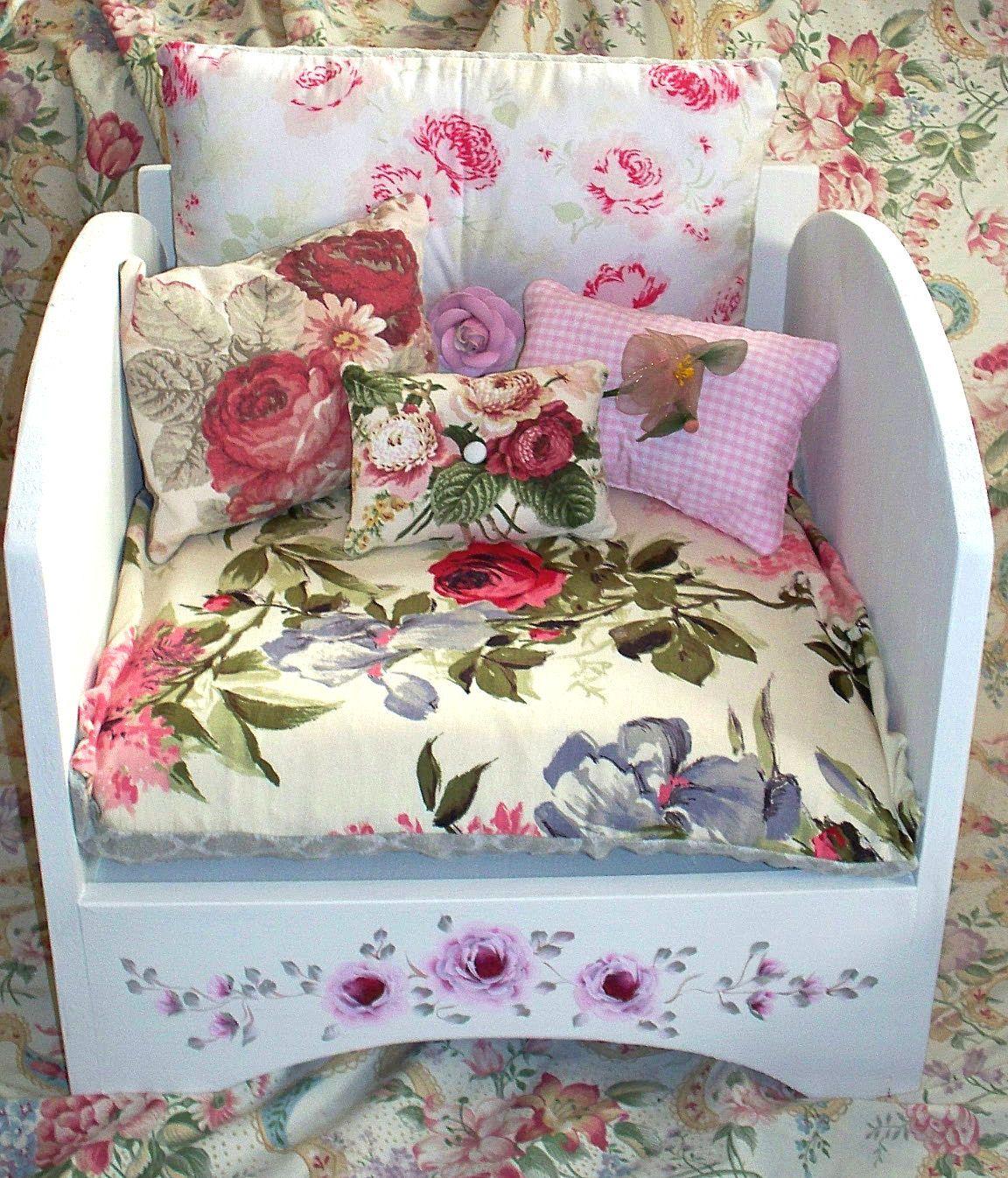 Beautiful Dog Bed,Cat Bed,Designer,Shabby Chic Handpainted Roses,Handmade  Pillows,Orthopedic Memory Foam Pillow,Wood,Hand Painted