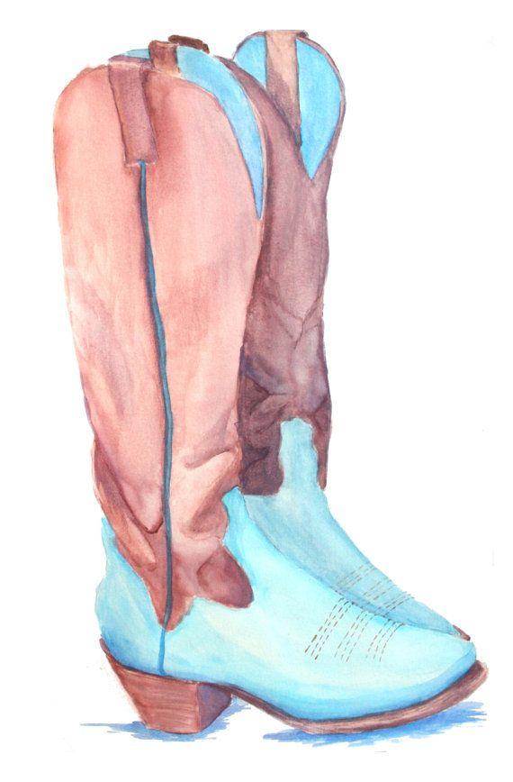 Cowboy Boots Illustrative Watercolor Original Artwork