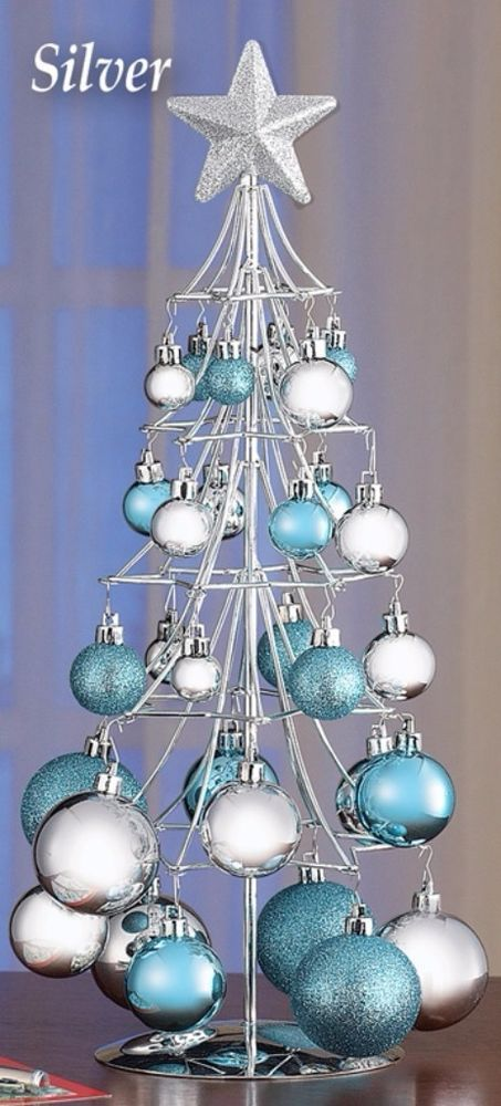 Silver Christmas Tree Glittered Star with 26 Sparkling Ornaments - blue and silver christmas decorationschristmas tree decorations