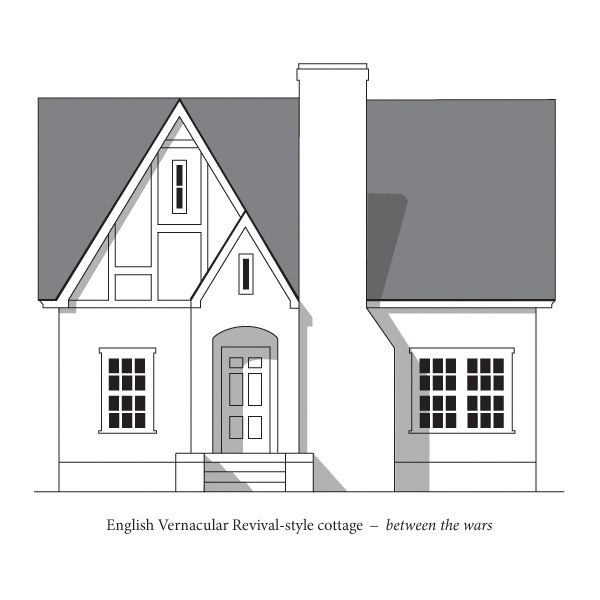 English vernacular revival tudor 1920s 1930s drawn for Architecture 1930