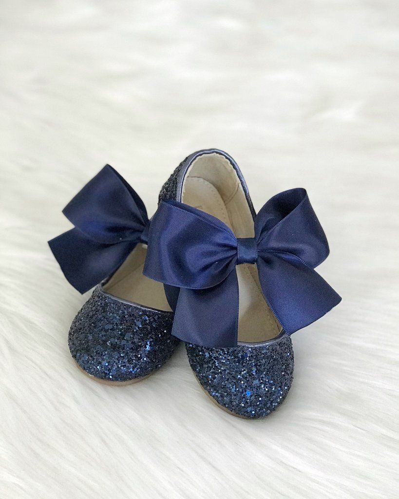 dca1b1a1 NAVY Blue Girl Shoes - Rock Glitter Maryjane Flats With Satin Bow ,Kids  Shoes- Kailee P