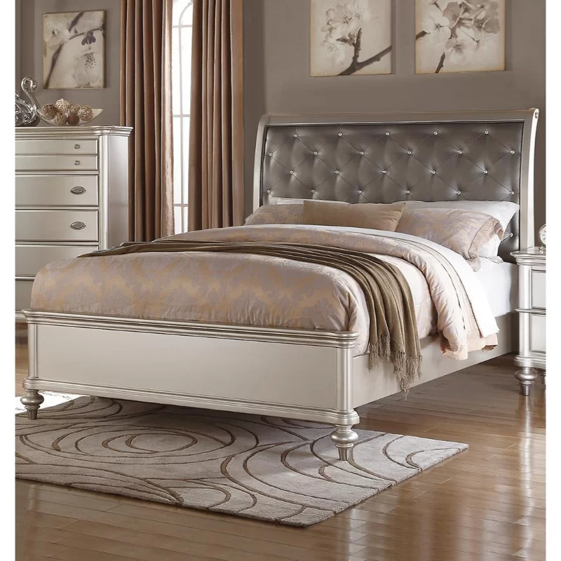 Loucks Wooden Upholstered Sleigh Bed Leather King Beds